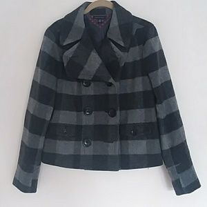 TOMMY HILFIGER grey striped wool blend pea coat